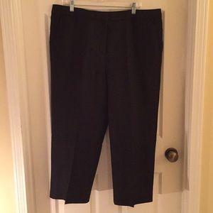 Talbots NWT 16 black linen wide leg crop pants